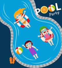Pool Party Banner Joyful Kids Swimming Icons
