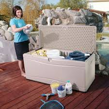 Suncast Db5000 50 Gallon Deck Box by Suncast 52 In 122 Gallon Resin Wicker Deck Box Hayneedle