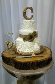 Wooden Cake Stands For Wedding Cakes Creations By Rustic Non Smooth White Burlap Band And Roses
