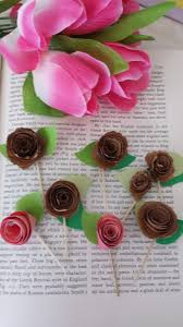 24 Pieces Rolled Flowers Cupcake Toppers Picks For Birthday Decorations DIY Party Supplies