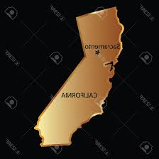 Vector Name California Photogold State Map With Capital