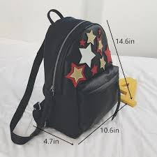 Fashion Star Backpack With Patches For Women Black PU Travel Backpacks