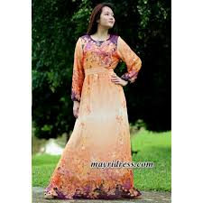 maxi dress long sleeves orange dress chiffon casual dress dress