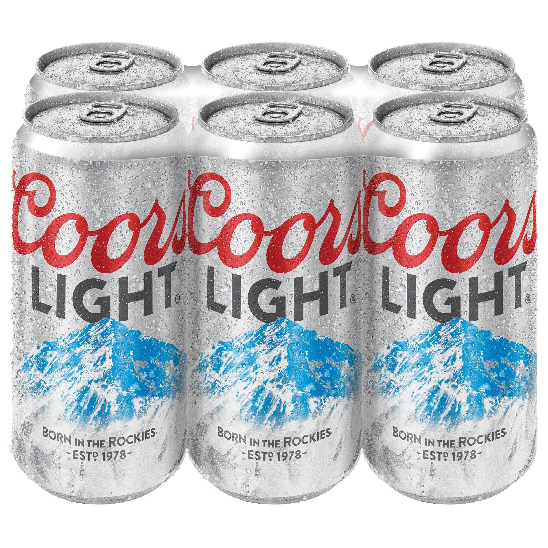 Coors Light Beer - 6 pack, 12 fl oz cans