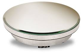 C Rotating Display Base W Mirror Turntable Mosaic Sides 12 Diameter X 3 1 8H Has On Off Switch Side Holds Up To 26 Lbs Kgs