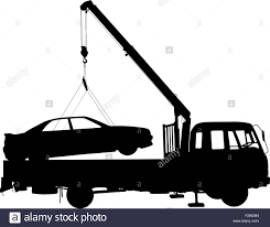 100 Tow Truck Vector Black Silhouette Car Towing Truck Illustration Stock