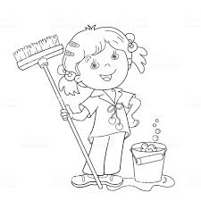 Coloring Page Outline Of Cartoon Girl With Mop And Bucket Royalty Free
