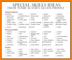 Acting Resume Special Skills Examples April Onthemarch Co