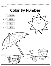 Harmonious Easy Color By Number R3147 Worksheets Kindergarten