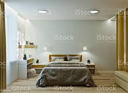 moderne schlafzimmer interieur in warmen farben mit holzvertäfelung stockfoto und mehr bilder architektur