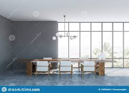 Gray Dining Room Interior With Armchairs Stock Illustration ...