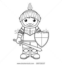 Coloring Page Vector Illustration Of A Black And White Outline Image Knight With