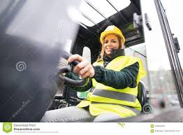 100 Female Truck Driver Woman Forklift In An Industrial Area Stock