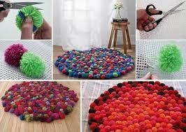 tapis a faire soi meme diy tapis en pompons