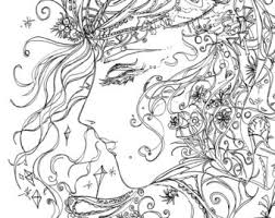 Girl In Dream Printable Adult Coloring Page Feminine Crystals Instant Download Original