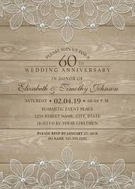 Country Wood 60th Wedding Anniversary Invitations
