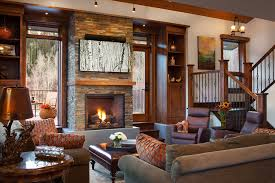 Rustic Living Room Ideas With Display Shelves Built In Cabinetry Storage For