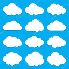 100 Flat Cloud Shapes Collection Set Of Icons Stock