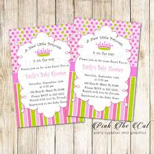 New Little Princess Baby Shower Invitation Card Pink Green Pink