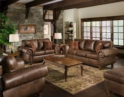 FurnitureLiving Room Color Schemes With Brown Leather Furniture And Brick Wall Decorating Plus