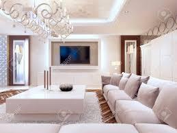 modernes wohnzimmer in weißen farben mit integriertem stauraum für den fernseher großes ecksofa und weißer couchtisch 3d übertragen