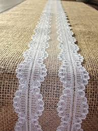 Burlap And Lace Table Runner Shimmering Wedding Linens Rustic Party Shower Decor
