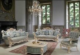 sofagarnitur set leonardo 3 2 1 graublau rokoko barock