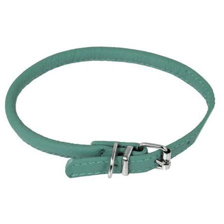 "Dogline Leather Dog Collar - 16-19"" x 0.38"", Round, Teal"