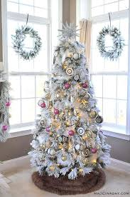 Flocked Christmas Tree Its A White Pink Black And Brown This Year