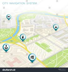 City Map Navigation Route Point Markers Stock Vector (Royalty Free ...