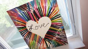 DIY Crayon Melted Painting On Canvas Rainbow Heart