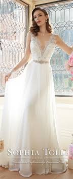 Sophia Tolli Sleeveless Angel Chiffon V Neck Slim A Line Wedding Gowns Spring 2016 Y11633