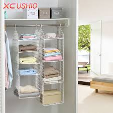 Folding Wardrobe Clothes Underwear Storage Rack Hooks Home Closet Plastic Shelves Hanging