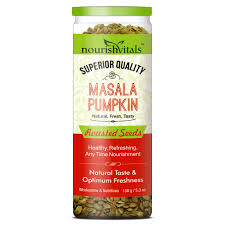 Roasted Unsalted Pumpkin Seeds Nutrition Facts by Nourishvitals Masala Pumpkin Roasted Seeds Superior Quality