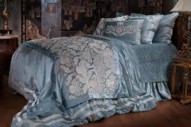 Lili Alessandra Versailles Bedding Ice Blue Velvet With Ivory Velvet