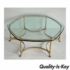 vintage labarge brass hoof foot hollywood regency hexagonal glass