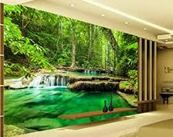 ponana grün grün landschaft wand tv sofa wohnzimmer tapete