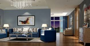 Dark Blue Gray Living Room Interior Design