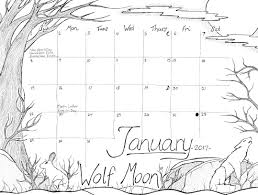 Calendar Coloring Page Series January 2017 Wolf Moon Studio