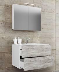 vcm 3 tlg waschplatz badmöbel badezimmer set waschtisch waschbecken schubladen keramik badinos spiegelschrank breite 80 cm weiß beton optik