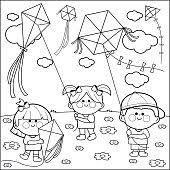 Vector Black And White Illustration Of Children Playing With Colorful Kites In The Sky Coloring