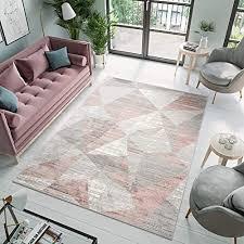 tapiso asthane teppich kurzflor creme grau rosa modern figuren dreiecke meliert verwischt design wohnzimmer schlafzimmer 200 x 300 cm
