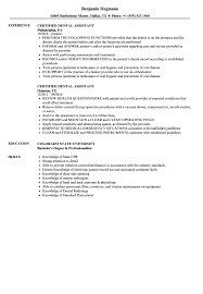 100 Dental Assistant Resume Templates Certified Sample