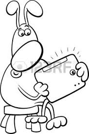 Black And White Cartoon Illustration Of Funny Dog Character With Tablet PC For Coloring Book Vector
