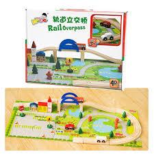 diy wooden toys railroad railway wooden train track set building
