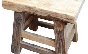 Reclaimed Wood Slab Stool Rustic Accent And Garden Stools By