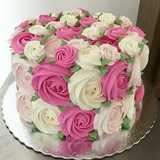 Pretty Pink and White Flower Cake