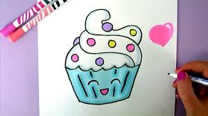 CUTE FOOD DRAWING HOW TO DRAW A SUPER CUTE AND EASY CUPCAKE STEP BY STEP