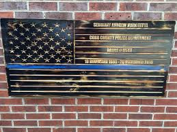 Blue Lives Matter Burned Engraved Wooden American Flag