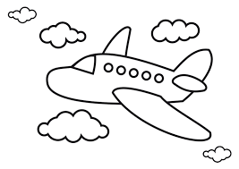 Drawn airplane black and white 1